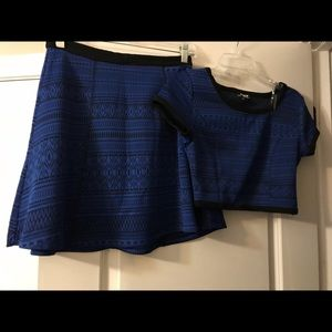 Blue and black skirt and top $15
